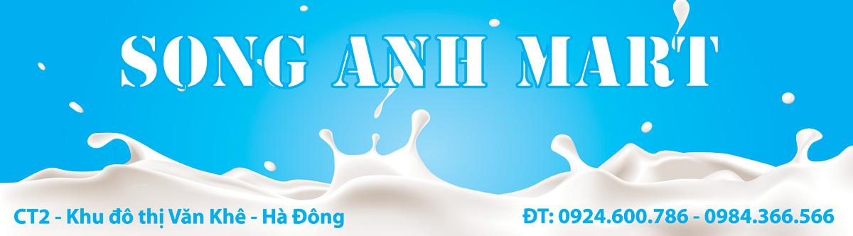 Vector market biển cửa hàng sữa Song Anh Mart
