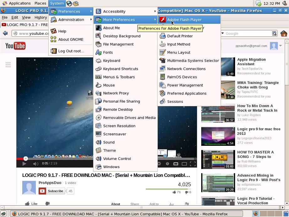 Flash Player cài đặt thành công trên Centos có thể tùy chỉnh và xem video trên các trang như Youtube