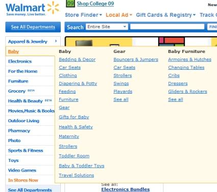 Mega menu Walmart