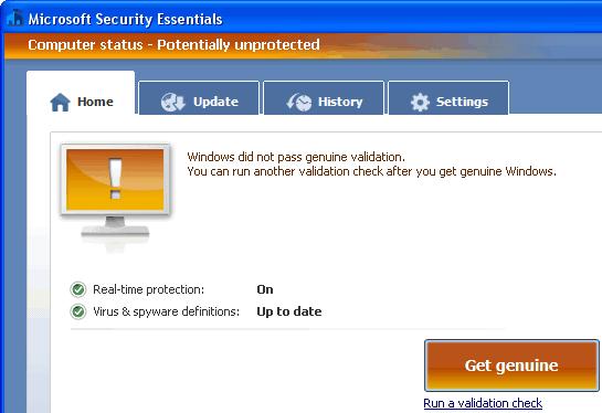 Microsoft security essentials get genuine