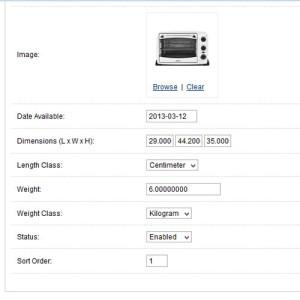 Nhập kích thước và trọng lượng sản phẩm Opencart