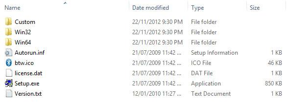 Các file và thư mục trong bộ cài Bluetooth máy Dell