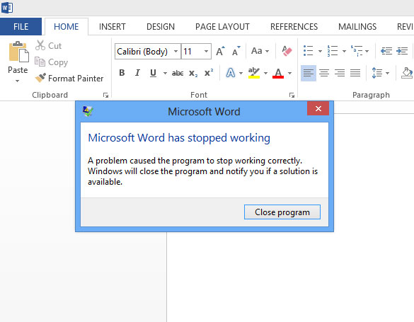 Microsoft Word 2013 has stopped working