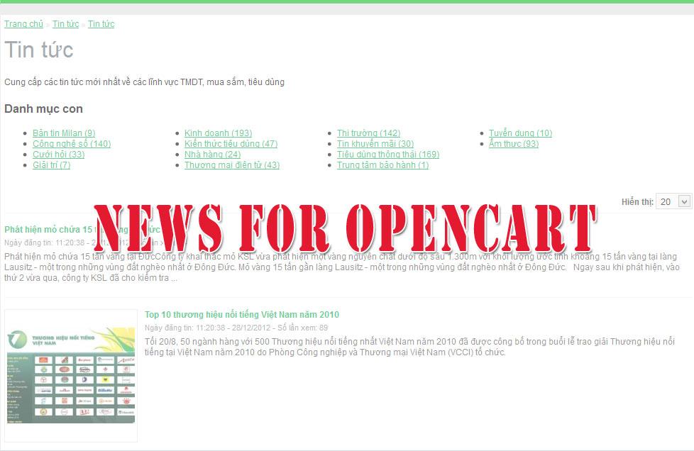 Module tin tức Opencart