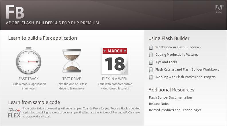 Adobe Flash Builder 4.5-for PHP Premium start page