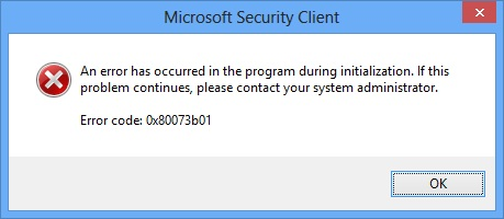 Windows Defense Error 0x80073b01
