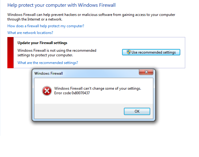 Windows Firewall error code 0x80070437