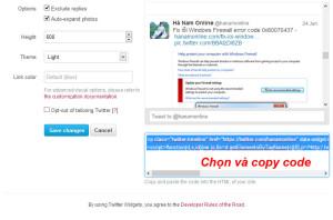 Chọn và copy code widget twitter
