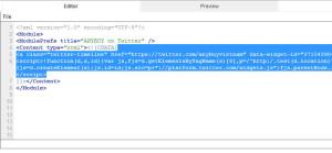 Dán code vào google gadget code editor