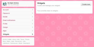 Quản lý widgets của twitter