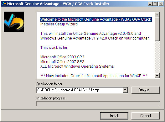 Microsoft Genuine Advantage - WGA / OGA Crack